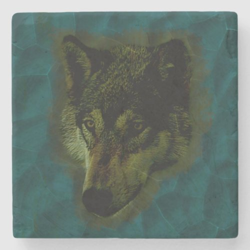 Hammered Blue Metal Wolf Stone Coaster