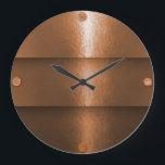 """Hammered Copper Layering Large Clock<br><div class=""""desc"""">It may not be real copper, but it sure looks like copper that&#39;s been decoratively hammered appearing to reflect light in the room. Any room with other copper accents will be the perfect setting. For instance, do you have a copper range hood or copper pots in the kitchen? This clock...</div>"""