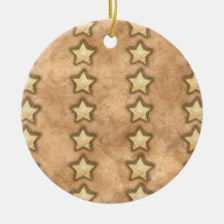 Hammered Copper Stars Ceramic Ornament