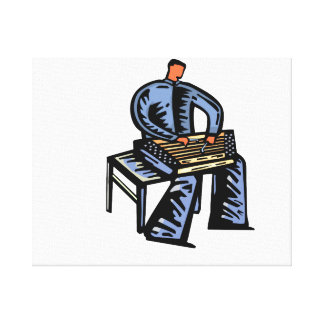 Hammered Dulcimer Player Graphic Blue Version Canvas Print