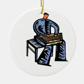 Hammered Dulcimer Player Graphic Blue Version Double-Sided Ceramic Round Christmas Ornament