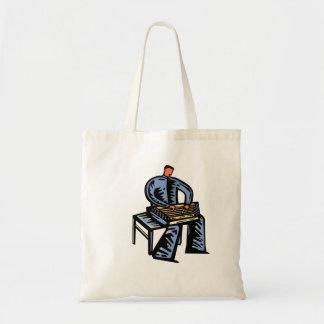 Hammered Dulcimer Player Graphic Blue Version Tote Bag