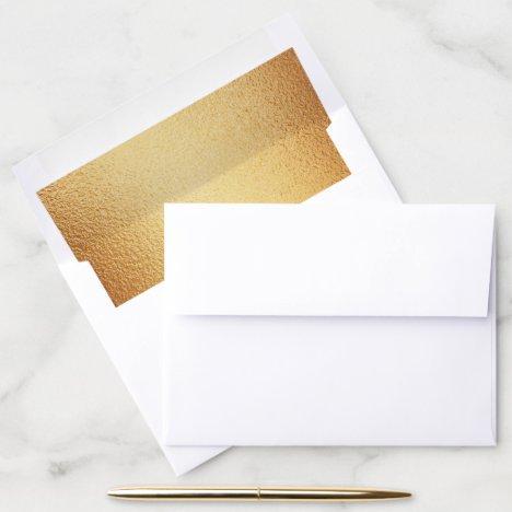 Hammered Gold Metallic Texture Wedding Envelope Liner