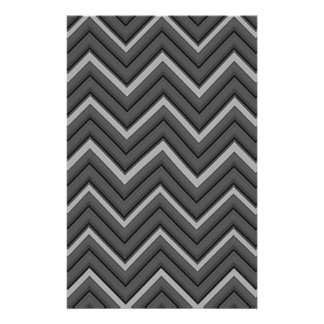 Hammered Metal Chevron City Stripes Stationery