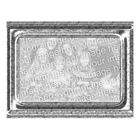 Hammered Silver Frame Photo Template Greeting Postcard