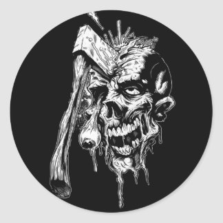 Hammered Skull Round Sticker