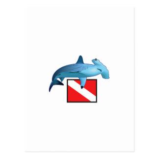 HAMMERHEAD SHARK AND DIVE FLAG POSTCARD