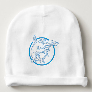 Hammerhead Shark Circle Mono Line Baby Beanie