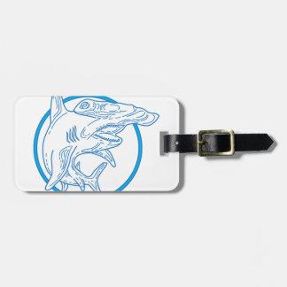Hammerhead Shark Circle Mono Line Luggage Tag