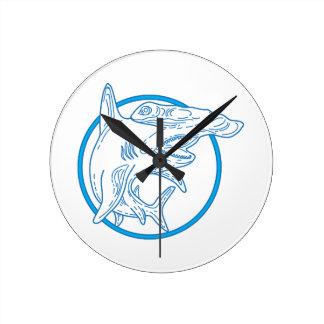 Hammerhead Shark Circle Mono Line Round Clock