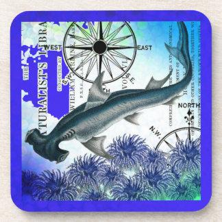 Hammerhead Shark Nautical Collage Underwater Blue Coaster