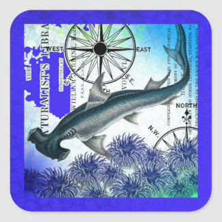 Hammerhead Shark Nautical Collage Underwater Blue Square Sticker