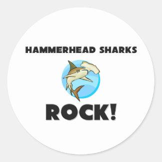 Hammerhead Sharks Rock Classic Round Sticker