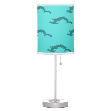 Beach Themed Hammerheads Aqua Table Lamp