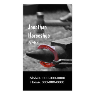Hammering a hot shoe into shape business card