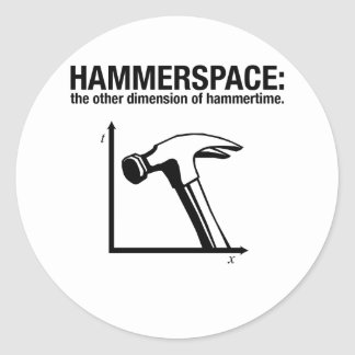 hammerspace: la otra dimensión de hammertime. pegatina redonda