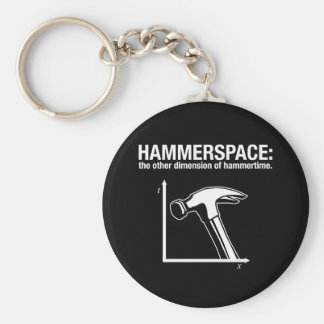 hammerspace: the other dimension of hammertime. basic round button keychain