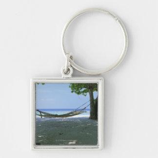 Hammock 2 Silver-Colored square keychain