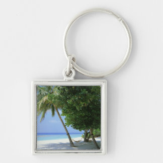 Hammock and Palm Tree Silver-Colored Square Keychain