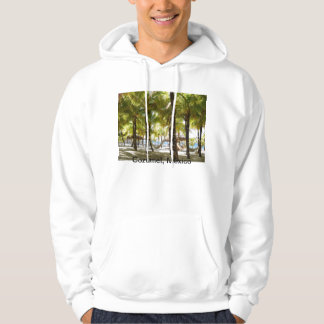 Hammock and palm trees by the ocean Hoodie