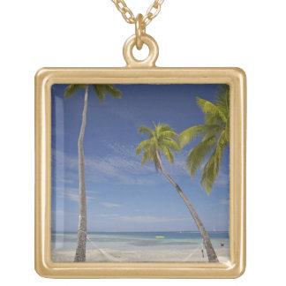 Hammock and palm trees, Plantation Island Resort Custom Necklace