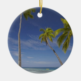Hammock and palm trees, Plantation Island Resort Double-Sided Ceramic Round Christmas Ornament