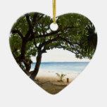 Hammock at South Sea Island, Fiji Double-Sided Heart Ceramic Christmas Ornament