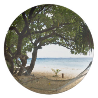 Hammock at South Sea Island, Fiji Melamine Plate