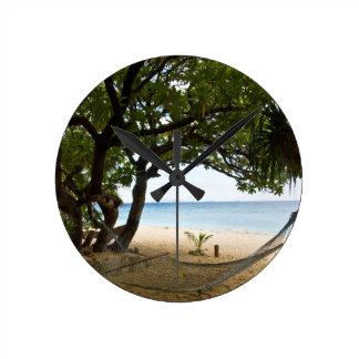 Hammock at South Sea Island, Fiji Round Clock