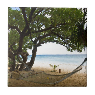 Hammock at South Sea Island, Fiji Tile