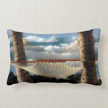 Beach Themed Hammock by the Ocean Lumbar Pillow