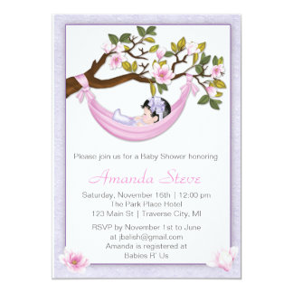 Hammock Girl Baby Shower Invitation - Black Hair