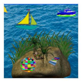 hammock ocean beach blue poster