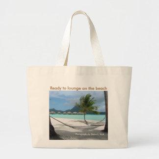 Hammock on Bora Bora Large Tote Bag