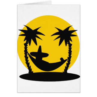 hammock palms sunset holiday icon greeting card