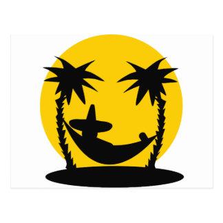 hammock palms sunset holiday icon postcard