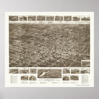Hammonton, mapa panorámico de NJ - 1926 Póster