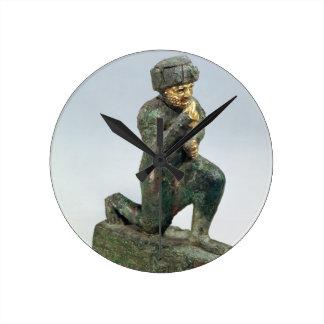 Hammurabi, king of Babylon, praying before a sacre Round Wallclock