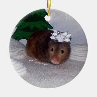 Hammy Christmas Ceramic Ornament