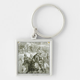 Hampden Wounded at Chalgrove Field Silver-Colored Square Keychain
