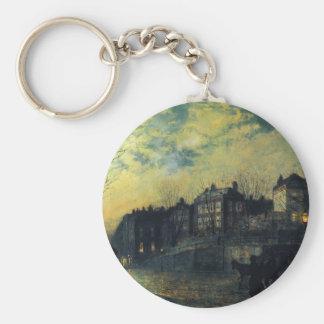 Hampstead by John Atkinson Grimshaw Basic Round Button Keychain