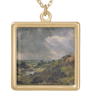 Hampstead Heath, Branch Hill Pond, 1828 Square Pendant Necklace