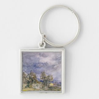 Hampstead Heath from near Well Walk, 1834 (w/c) Silver-Colored Square Keychain