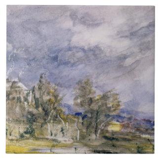 Hampstead Heath from near Well Walk, 1834 (w/c) Tile