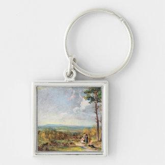 Hampstead Heath Looking Towards Harrow, 1821 (oil Silver-Colored Square Keychain