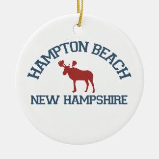 Hampton Beach - Moose Design. Ceramic Ornament