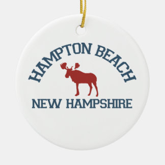 Hampton Beach - Moose Design. Double-Sided Ceramic Round Christmas Ornament