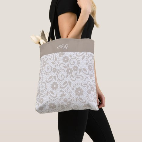 Hampton beige garden of flowers tote bag