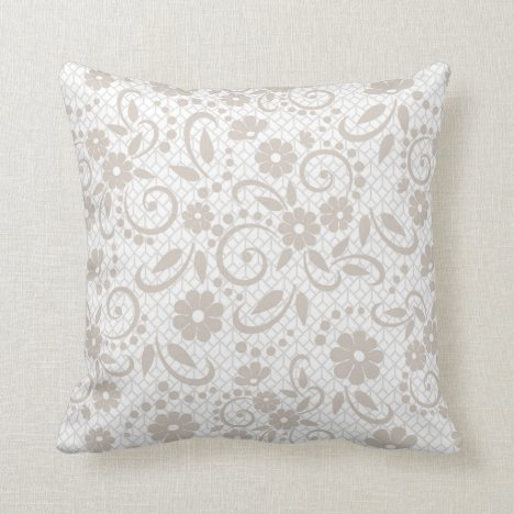 Hampton beige whimsical field of daisies throw pillow