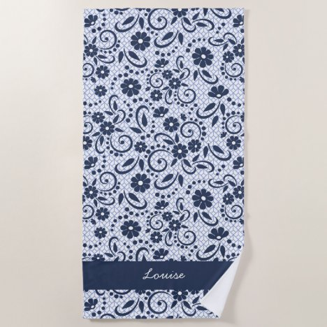 Hampton blue whimsical daisy flower garden beach towel
